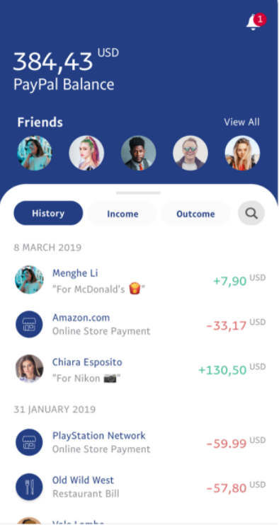 PayPal application first screen UX design