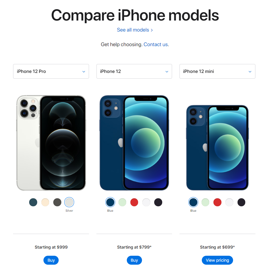 compare iPhone models page UX design
