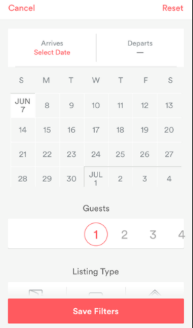 Airbnb calendar UI design
