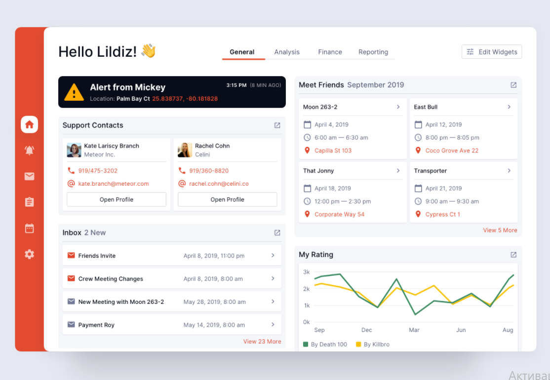 well-structured dashboard design with side navigation