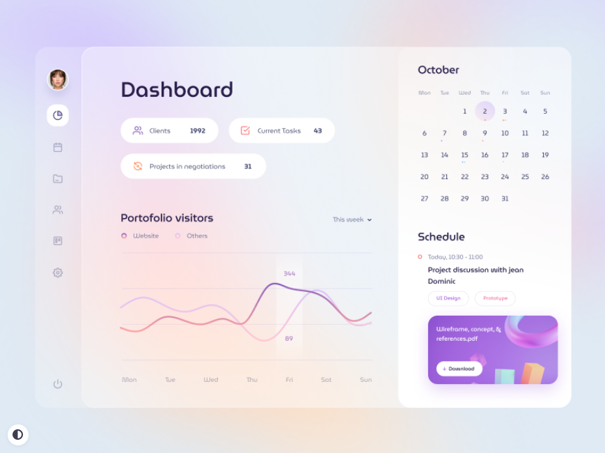 dashboard design with blur effect