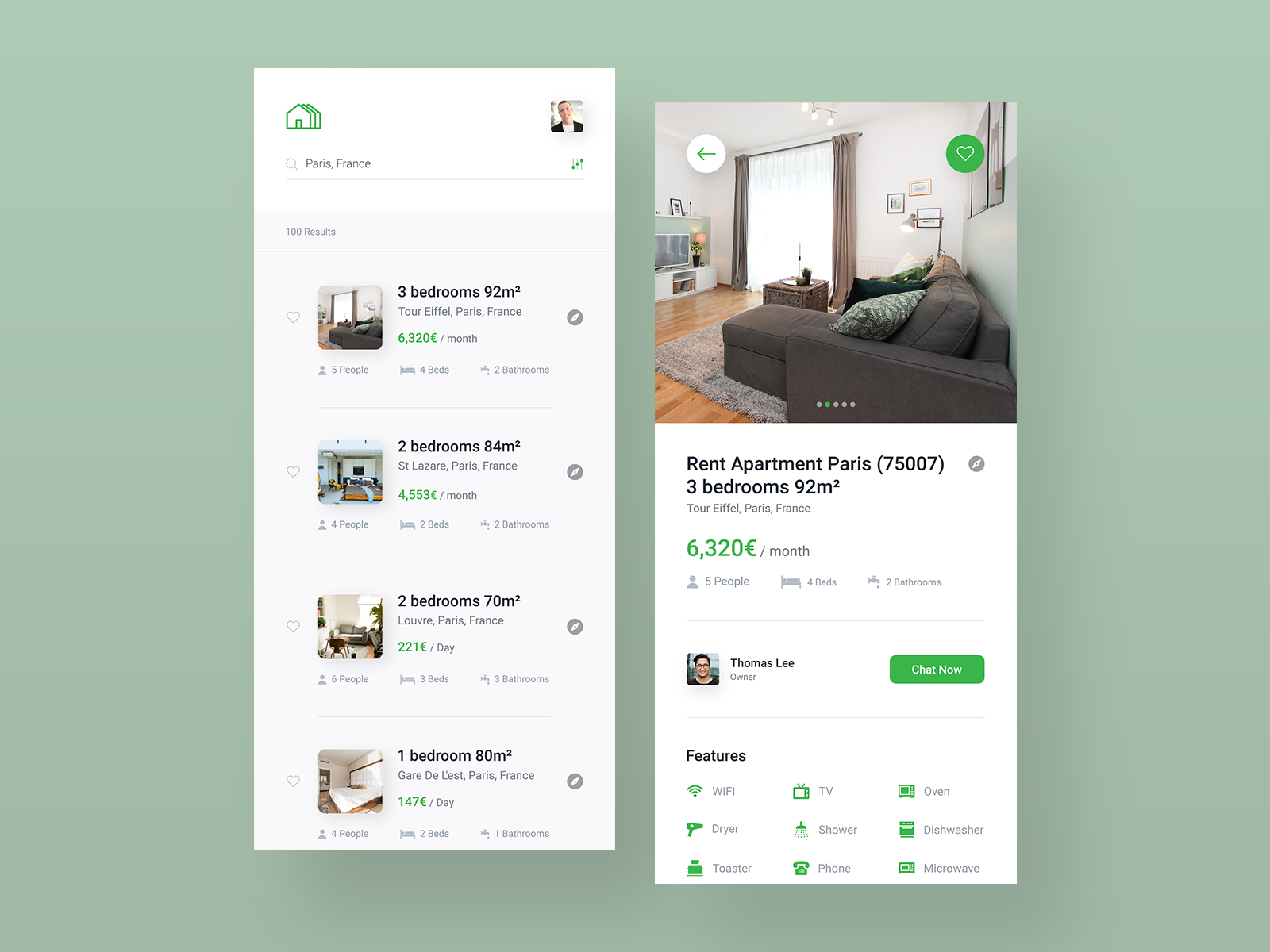 Application interface design examples: property rental app