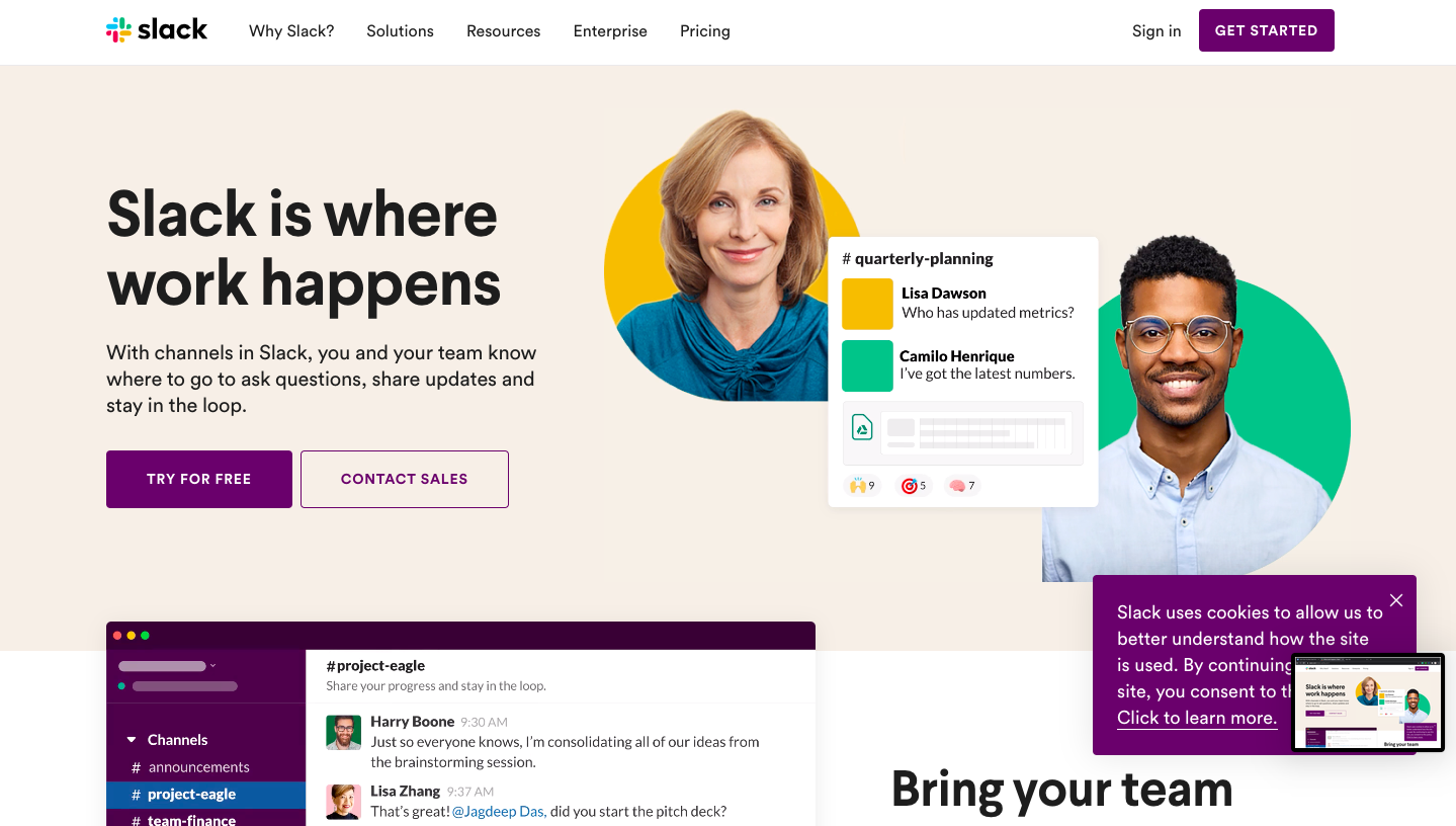 Slack has a simple and appealing SaaS website design