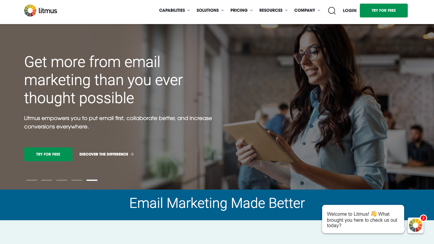 a SaaS website with great call to action.