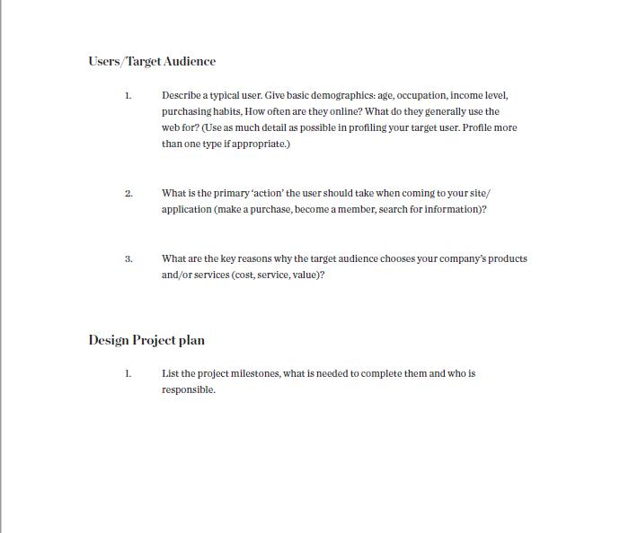 free design brief template