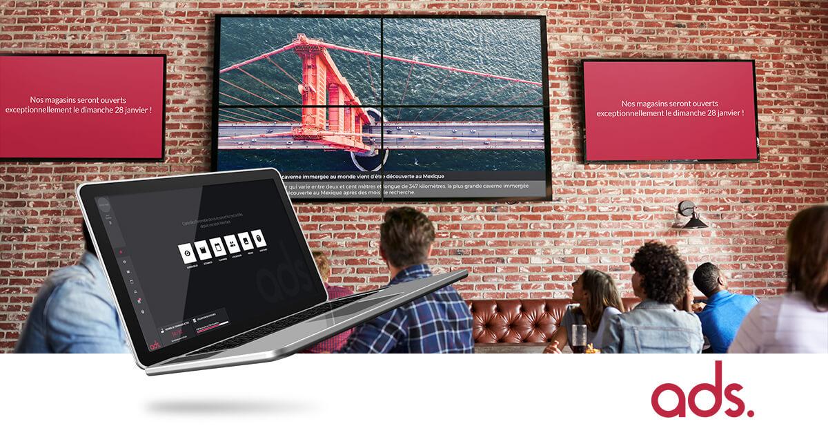 Affichage dynamique dans les commerces, bars, restaurants
