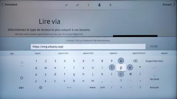 Configuration URL écran Samsung