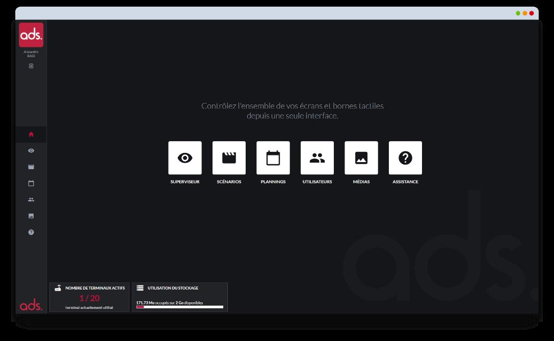 Interface logiciel affichage dynamique ADS