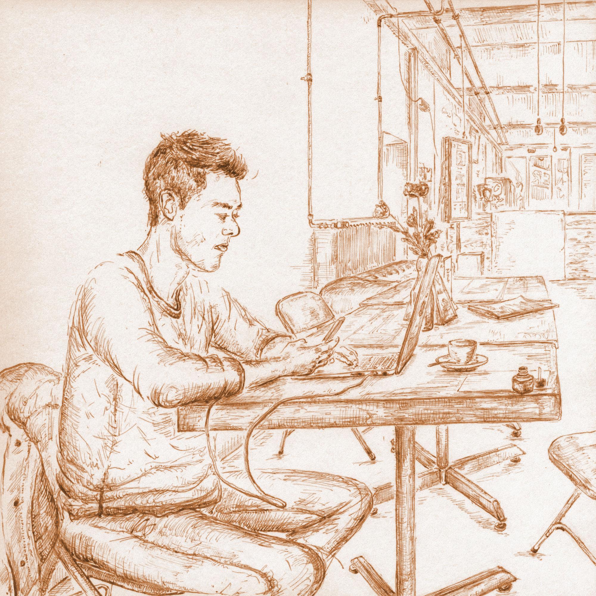Man working at Starbucks Odeonsplatz Munich