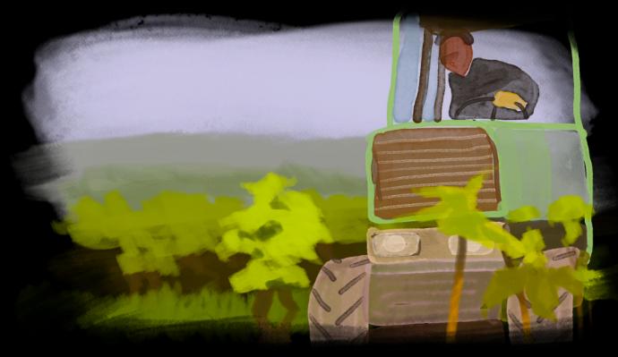 peinture de tracteur dans un champ à Cheverny