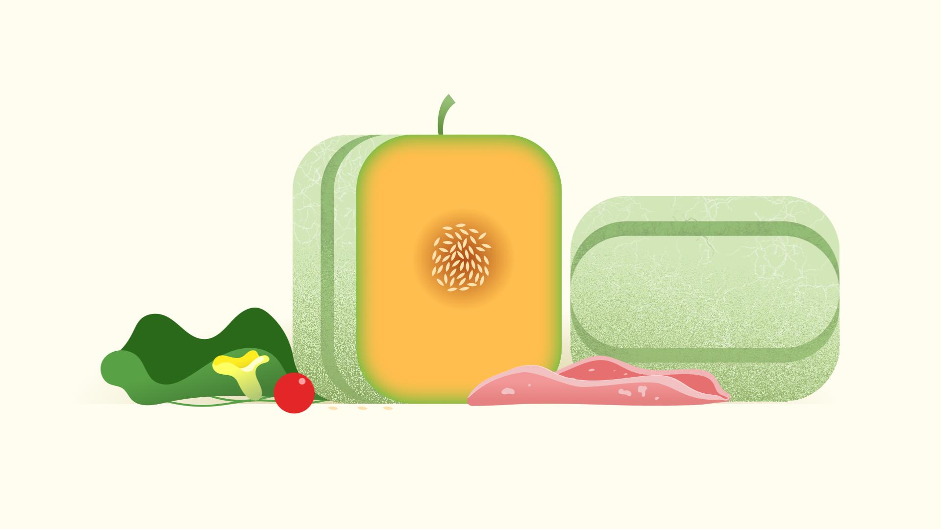melon carré découpé