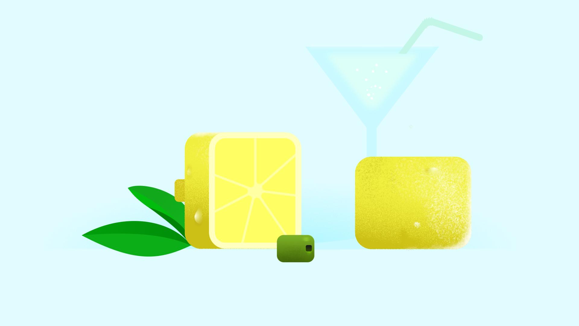 citron carré découpé