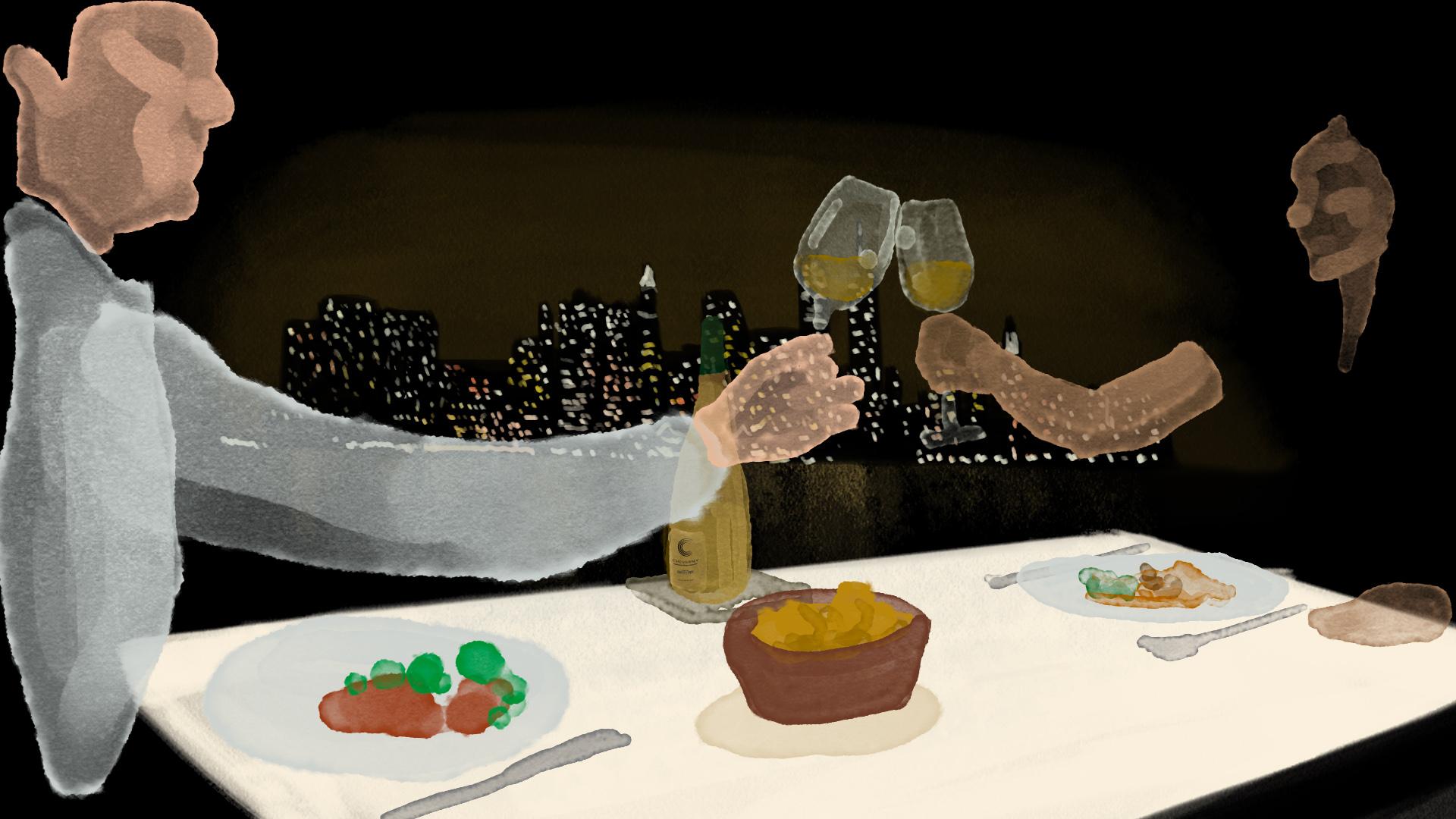 illustration de personnes trinquant avec du vin de  Cheverny