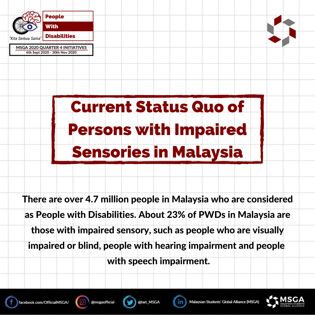 Current Status Quo of Persons with Impaired Sensories in Malaysia