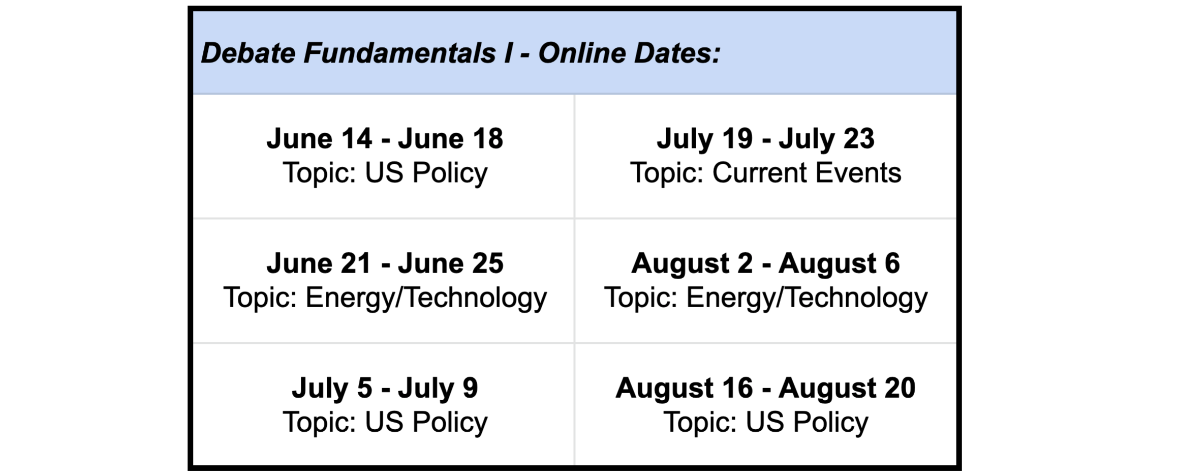 Dates for session
