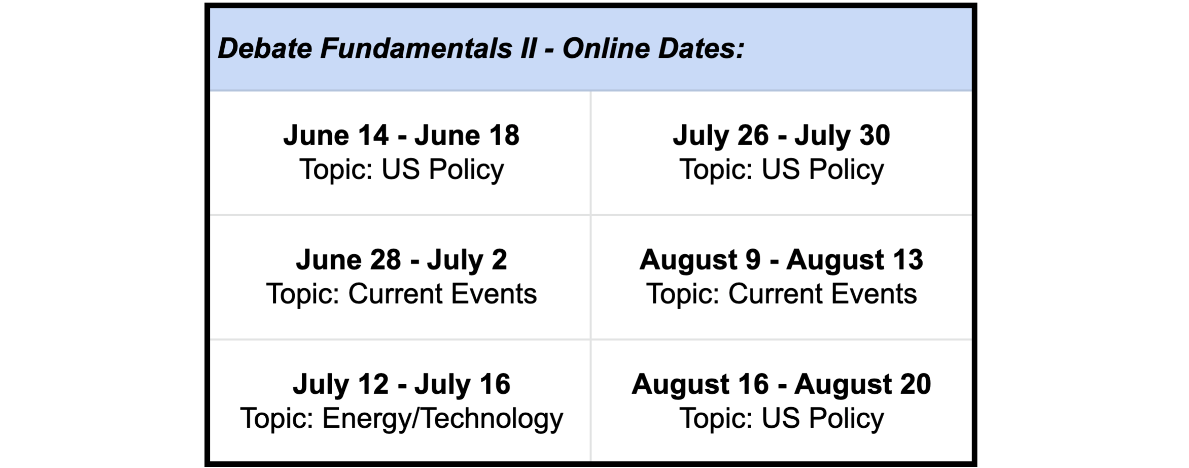 Dates for sessions