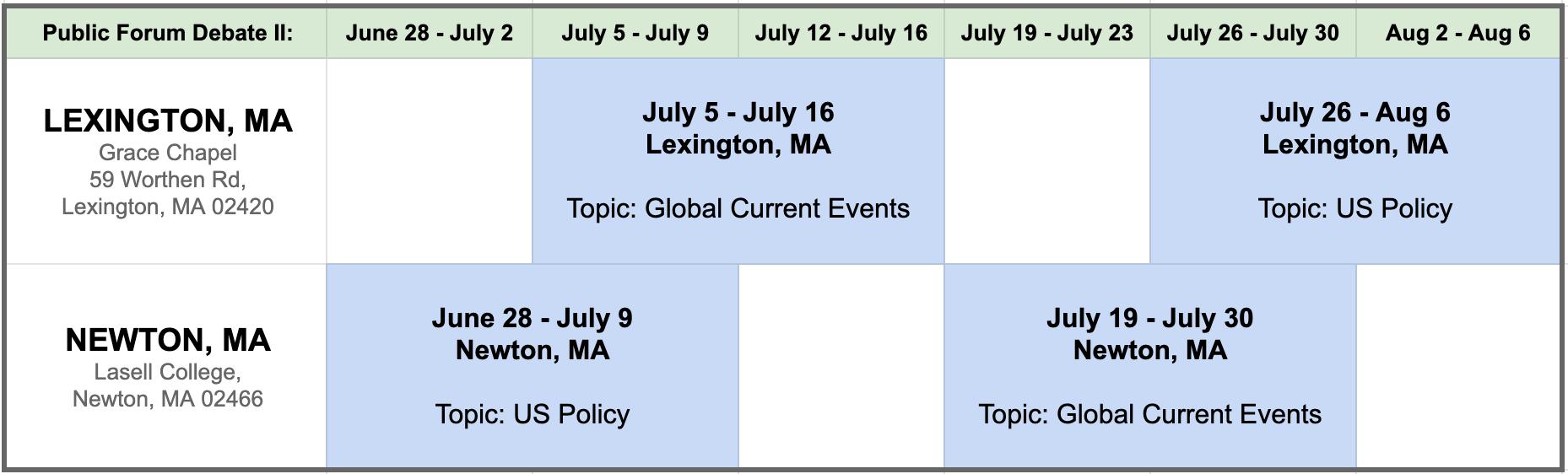 Schedule of classes