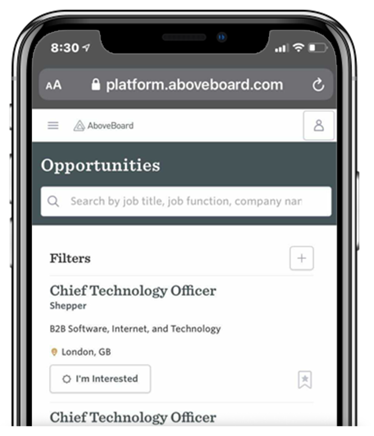 Iphone showing screenshot of AboveBoard
