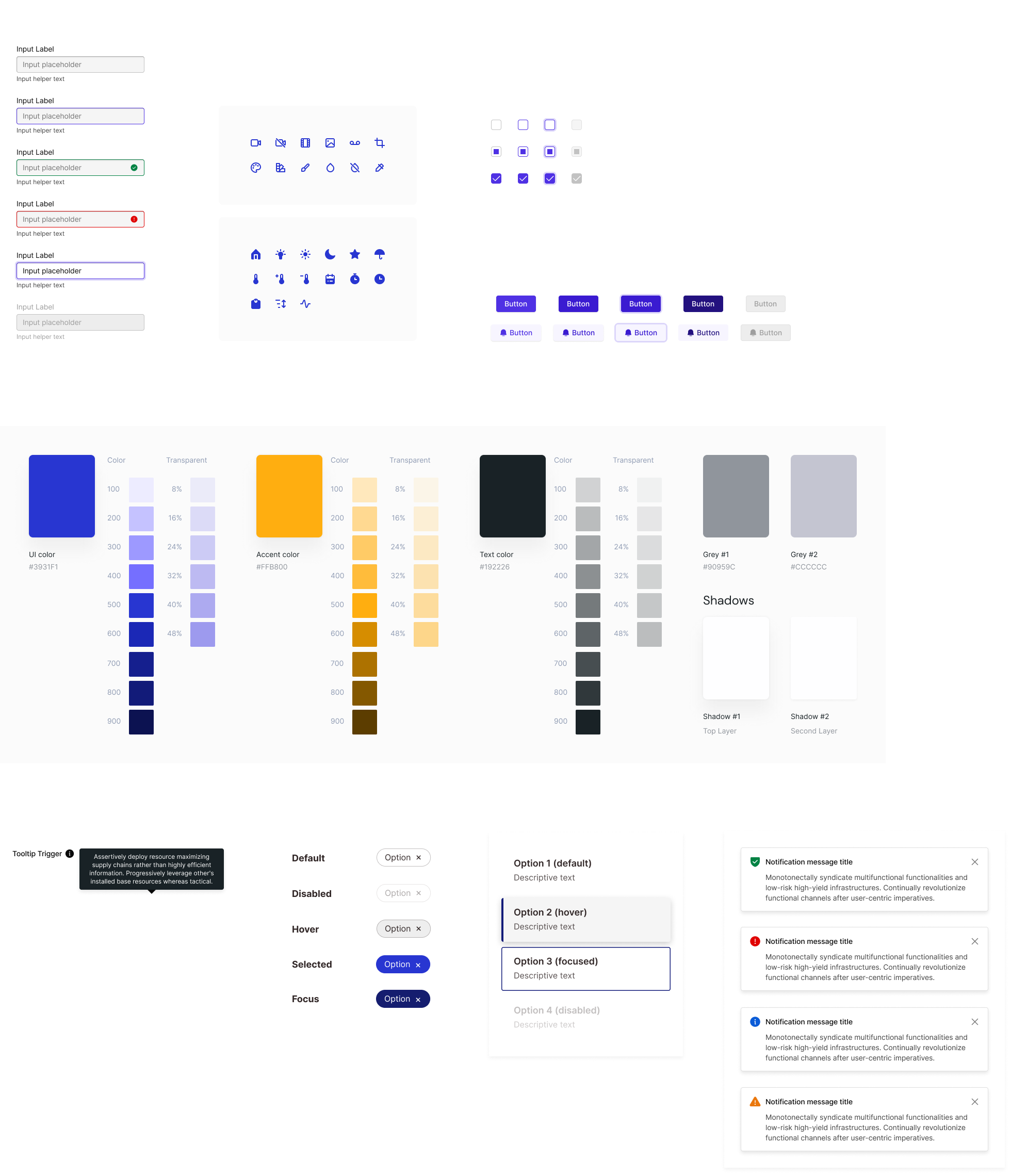 Screenshots of components from various style guides and design systems I have worked on.