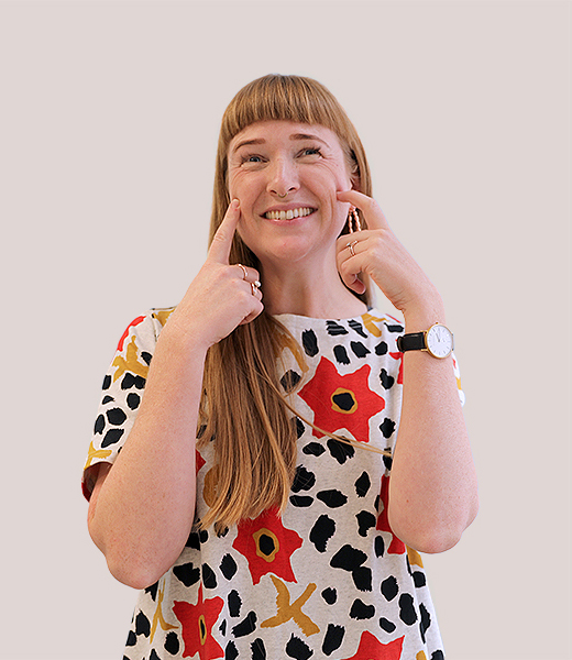Funny portrait photo of Beccy Hulme, Service Designer at MAKE Studios Melbourne.
