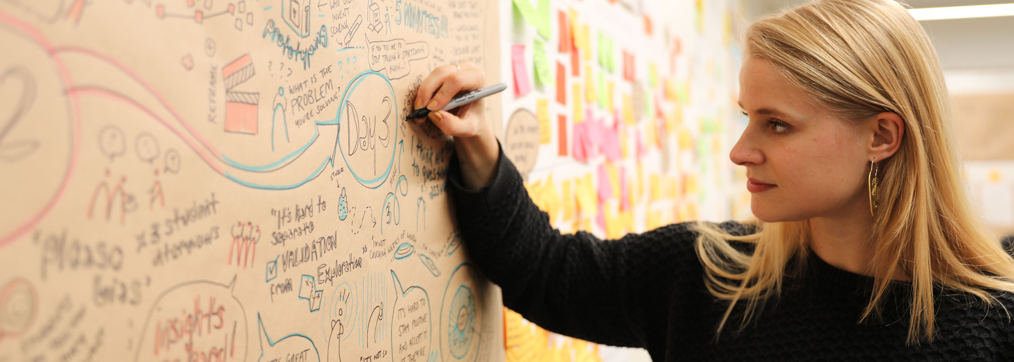 A woman drawing a graphic recording style illustration on a wall.