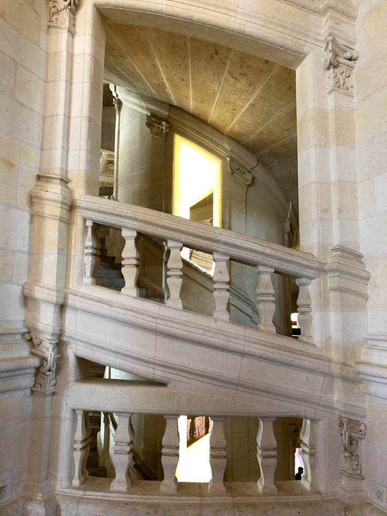 Double-helix staircase made of stone.