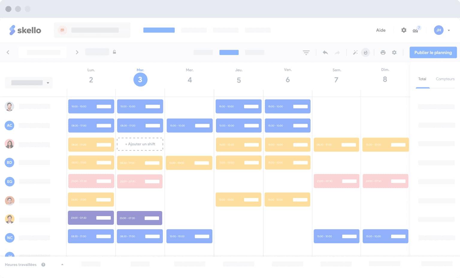 vue planning du logiciel skello