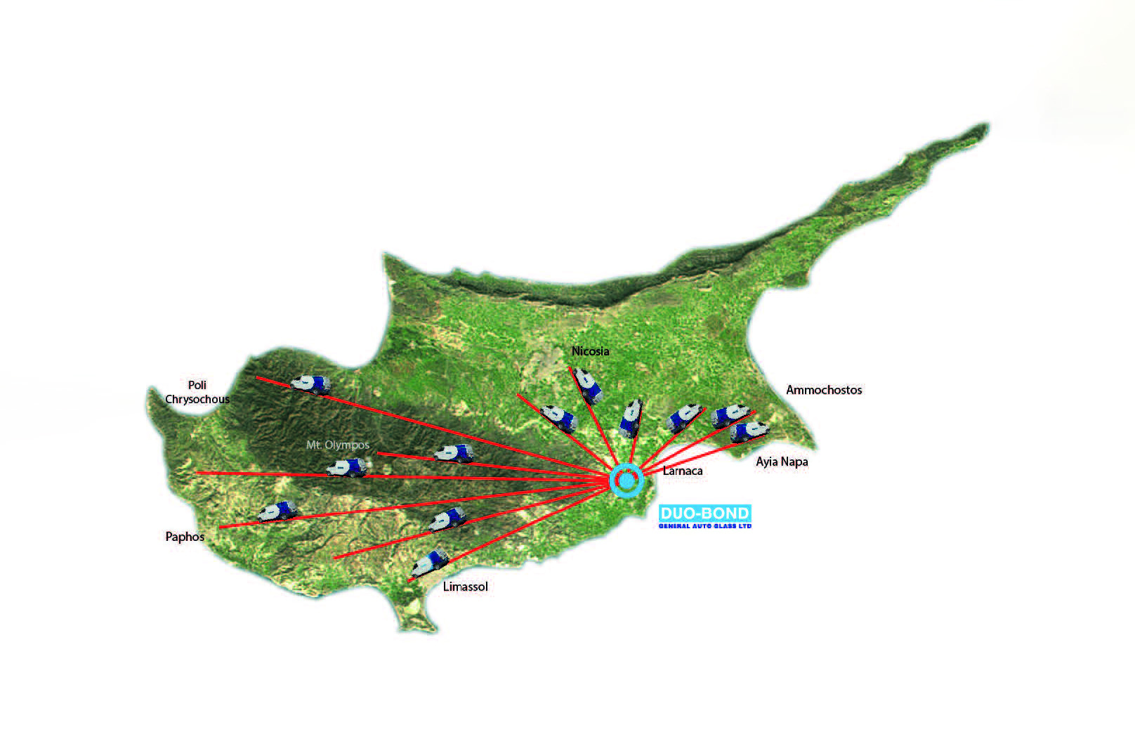 mobile units on map of Cyprus