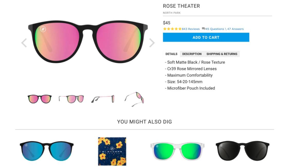 Recomatic product recommendation engine algorithm sunglasses