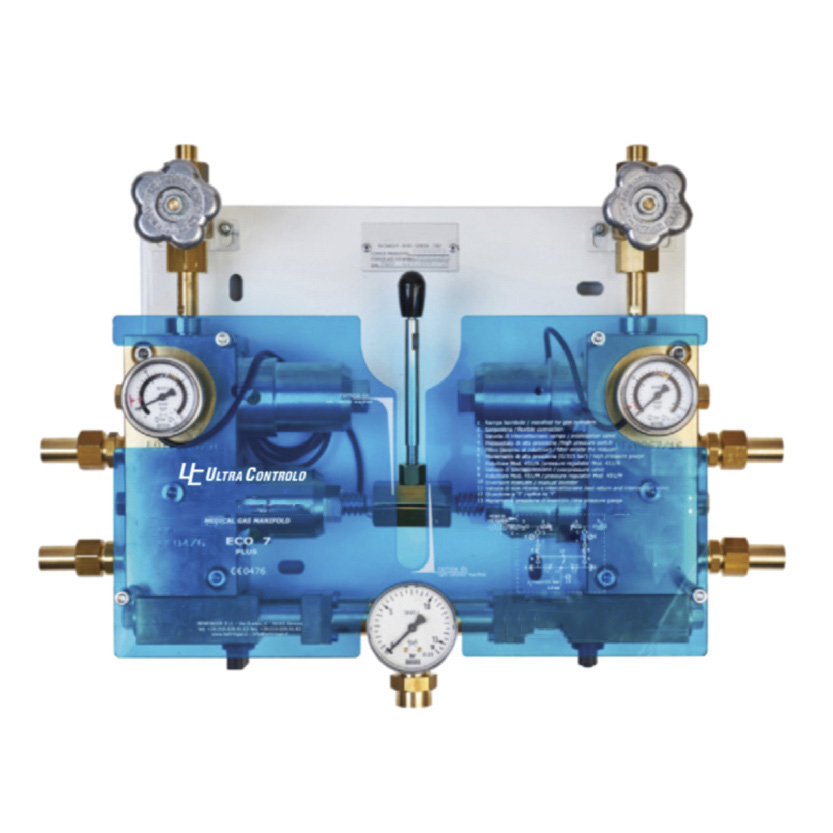 Control module for medical gases, with automatic switching and manual reset.