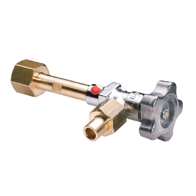 The purge valve is installed at the end of a manifold to purge the residual pressure in the line between the cylinders and the manifold itself.