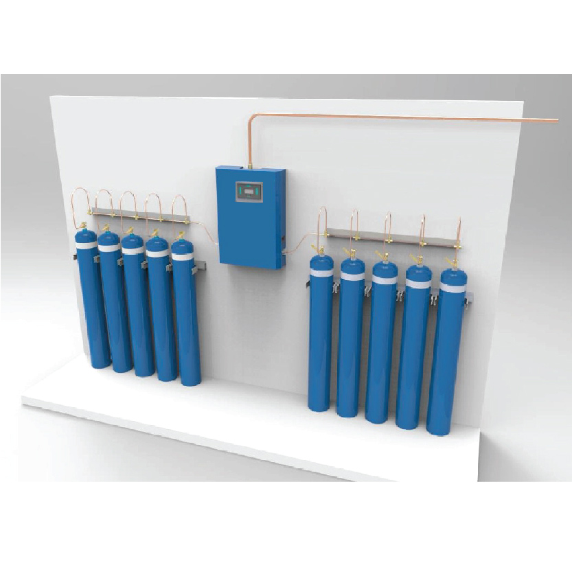 The oxygen manifold consists of 2 rows of respective numbers of class D - type bulk oxygen cylinders.