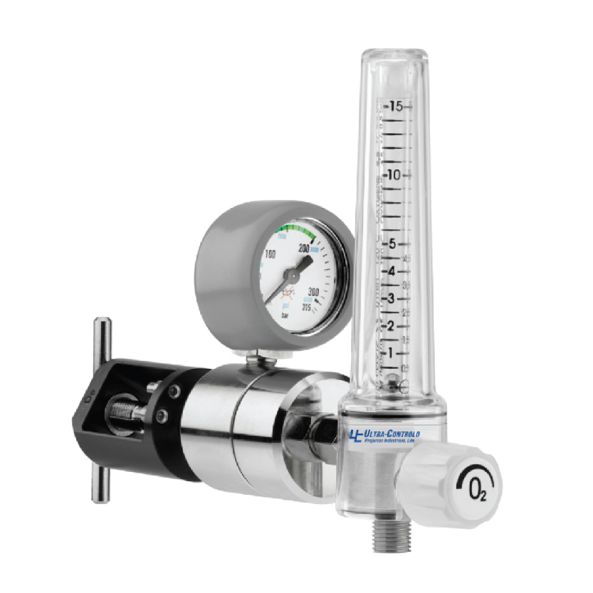 The RPG regulator is connected to an oxygen or medical air cylinder serves to reduce the pressure of the gas being supplied on the outlet to a regulated and stable pressure, below its supply pressure.