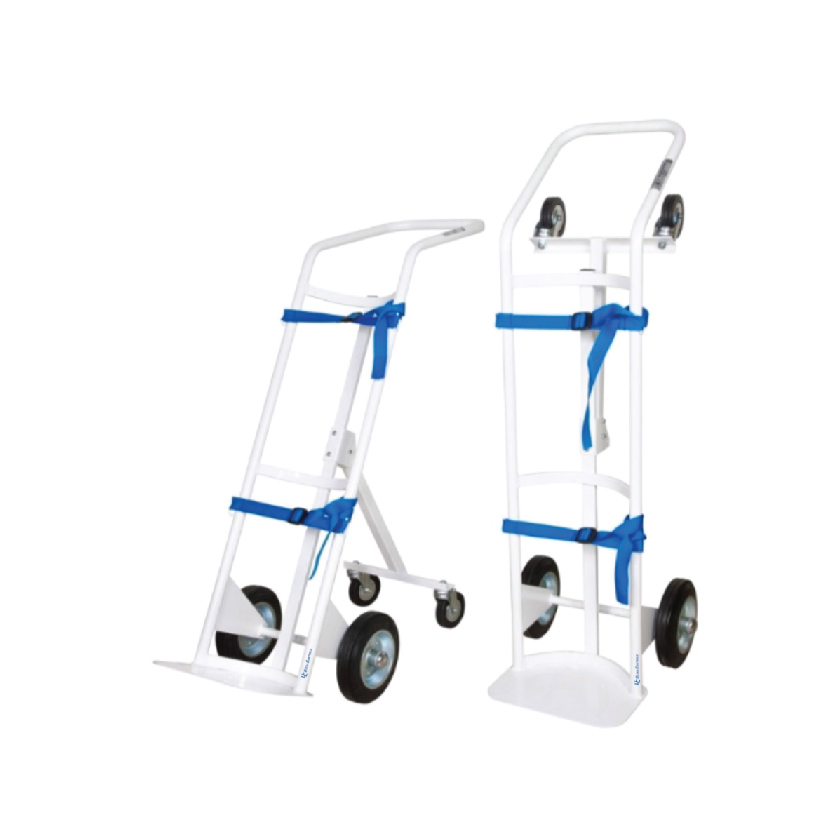The gas cylinder trolley is designed for transporting medical gas cylinders, two versions are available to suit different cylinder sizes: one version for 10 L cylinders and one version for 40 L cylinders.