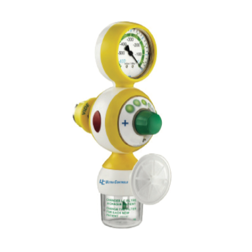 The vacuum regulator is used to measure and adjust the vacuum level within the context of medical suction.