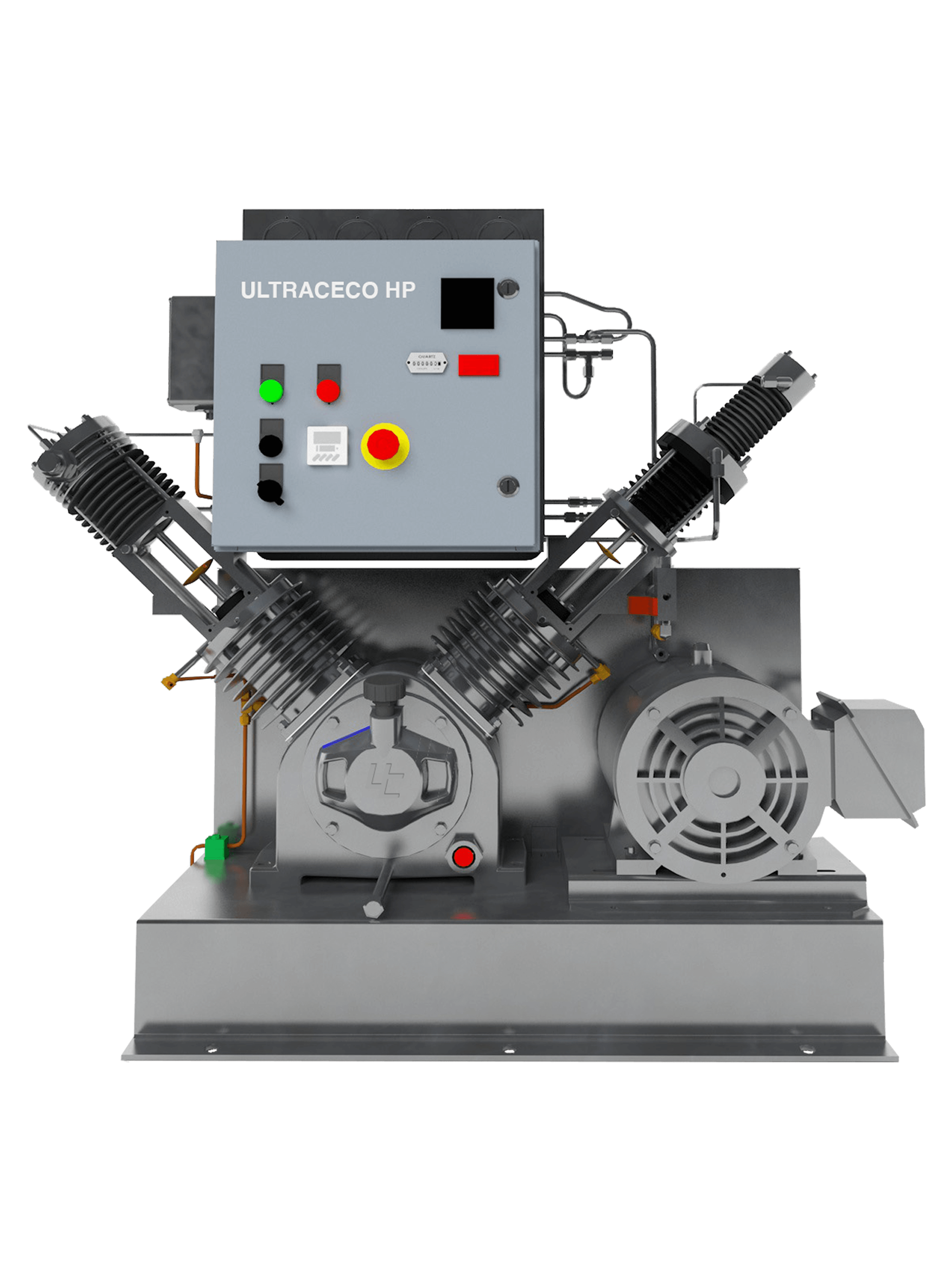 The high-pressure oxygen booster ULTRACECO HP was developed to meet the requirements of safe and reliable oxygen compression service with special safety devices and electrical protections.