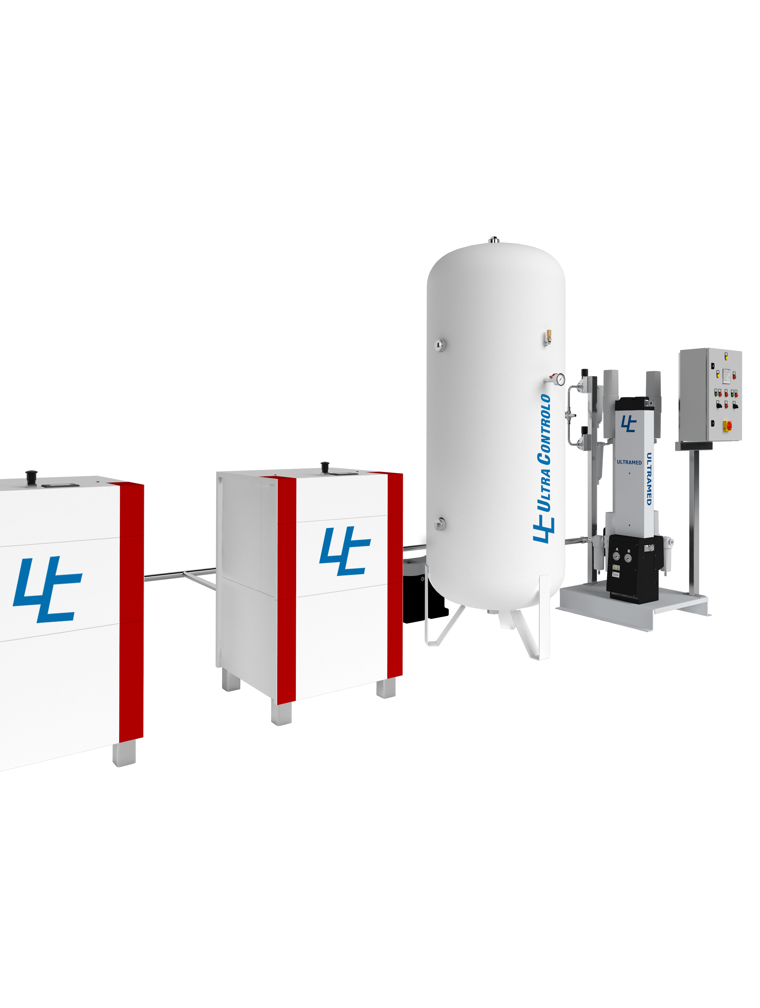 Designed for the production and continuous supply of medicinal compressed air for the medical gas network in healthcare units and in a fully automatic operating regime.