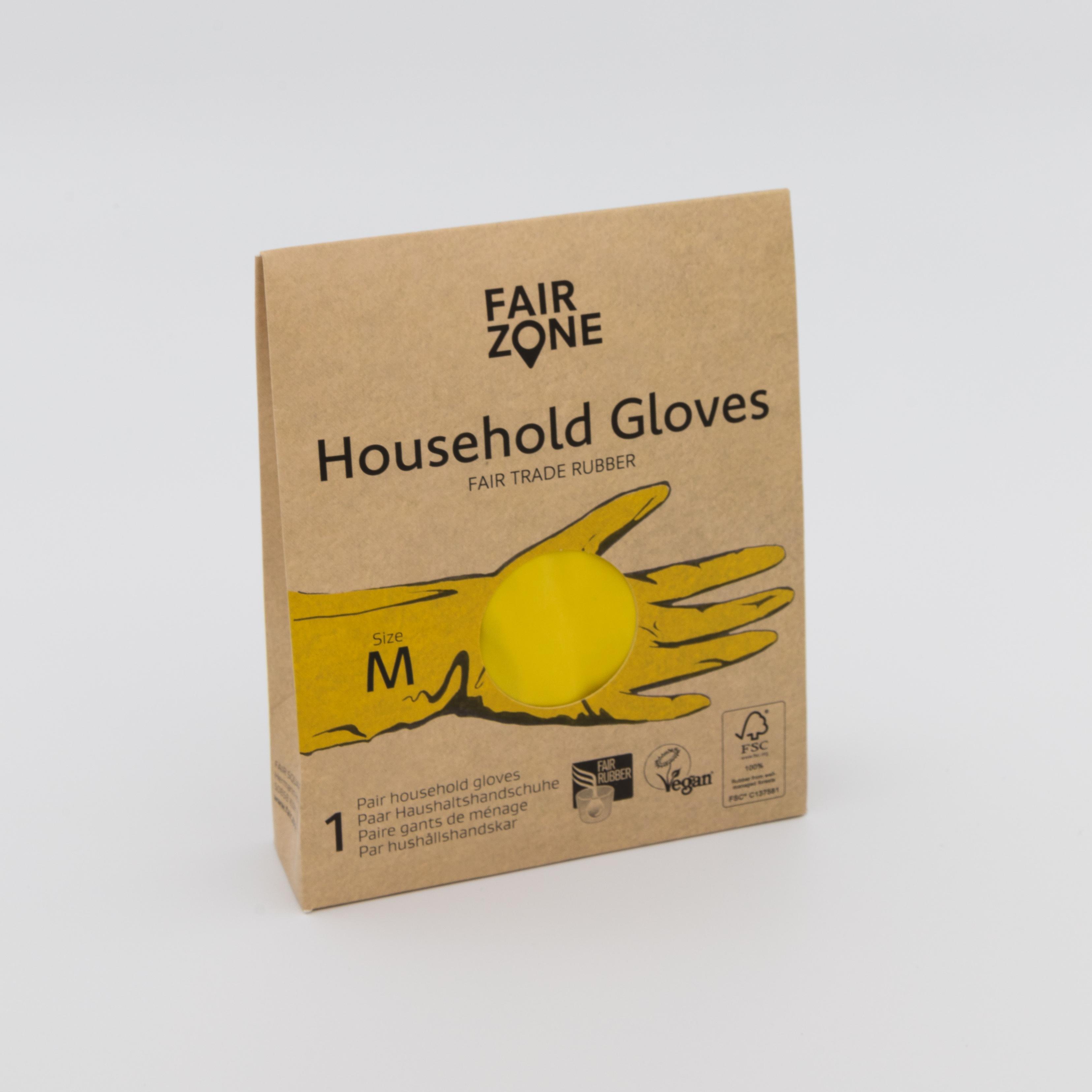 Gelbe Haushaltshandschuhe in kartonierter Verpackung.