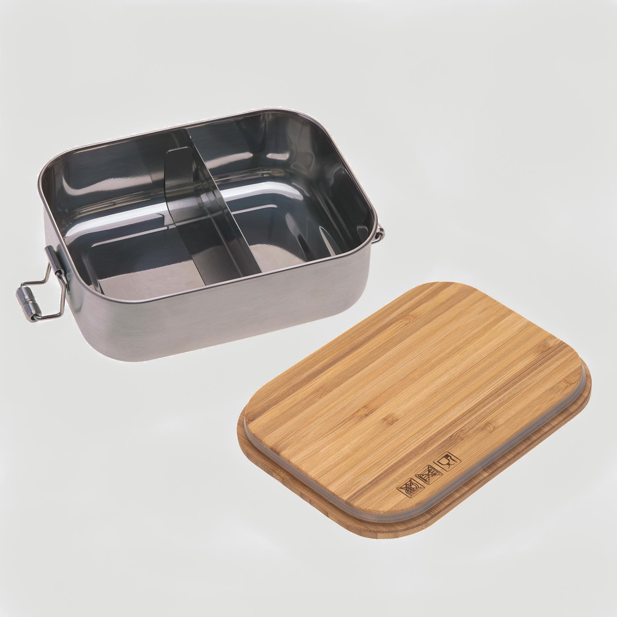 Kinder Lunchbox aus Edelstahl mit Bambusdeckel geöffnet.
