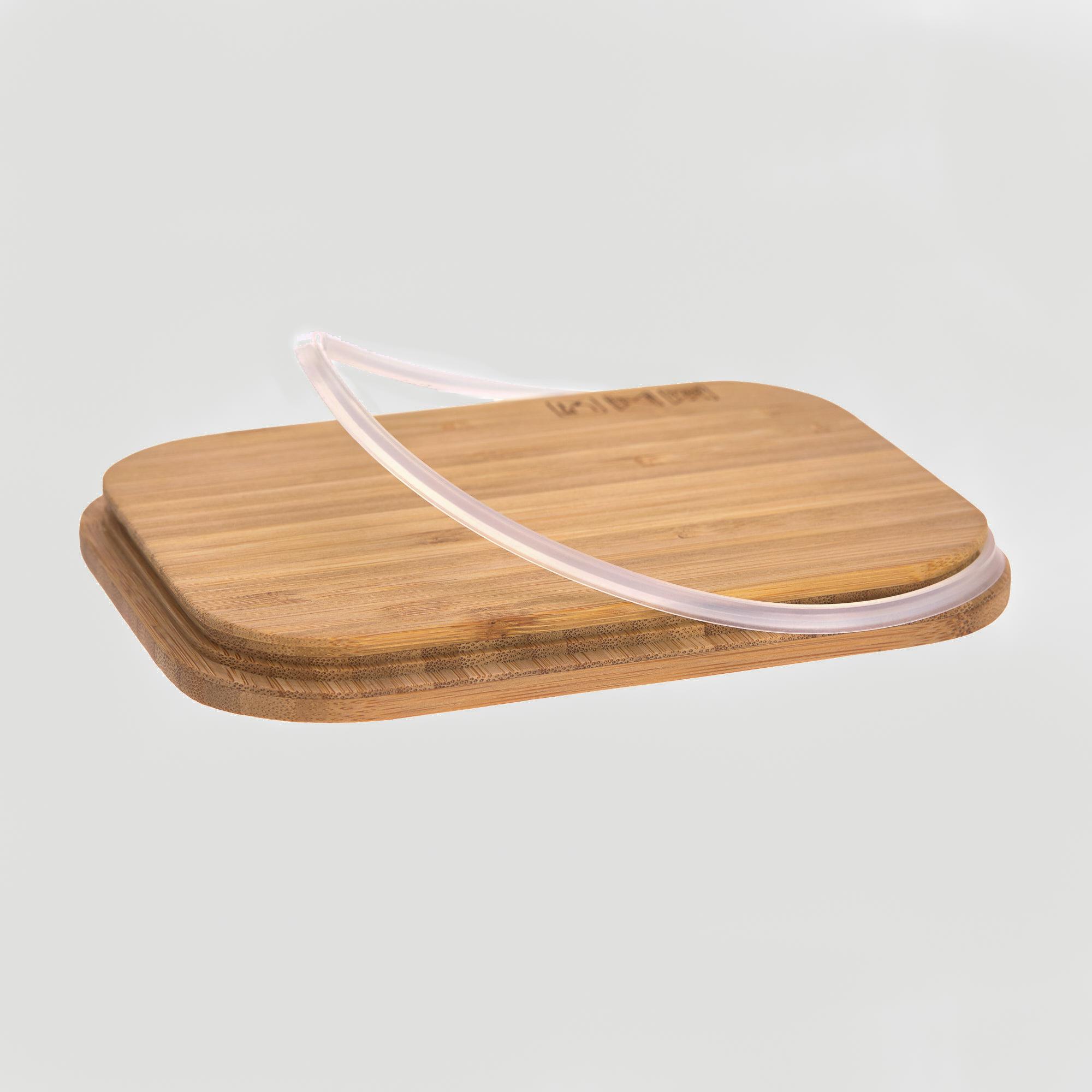 Bambusdeckel mit Dichtungsring von Edelstahl-Lunchbox.