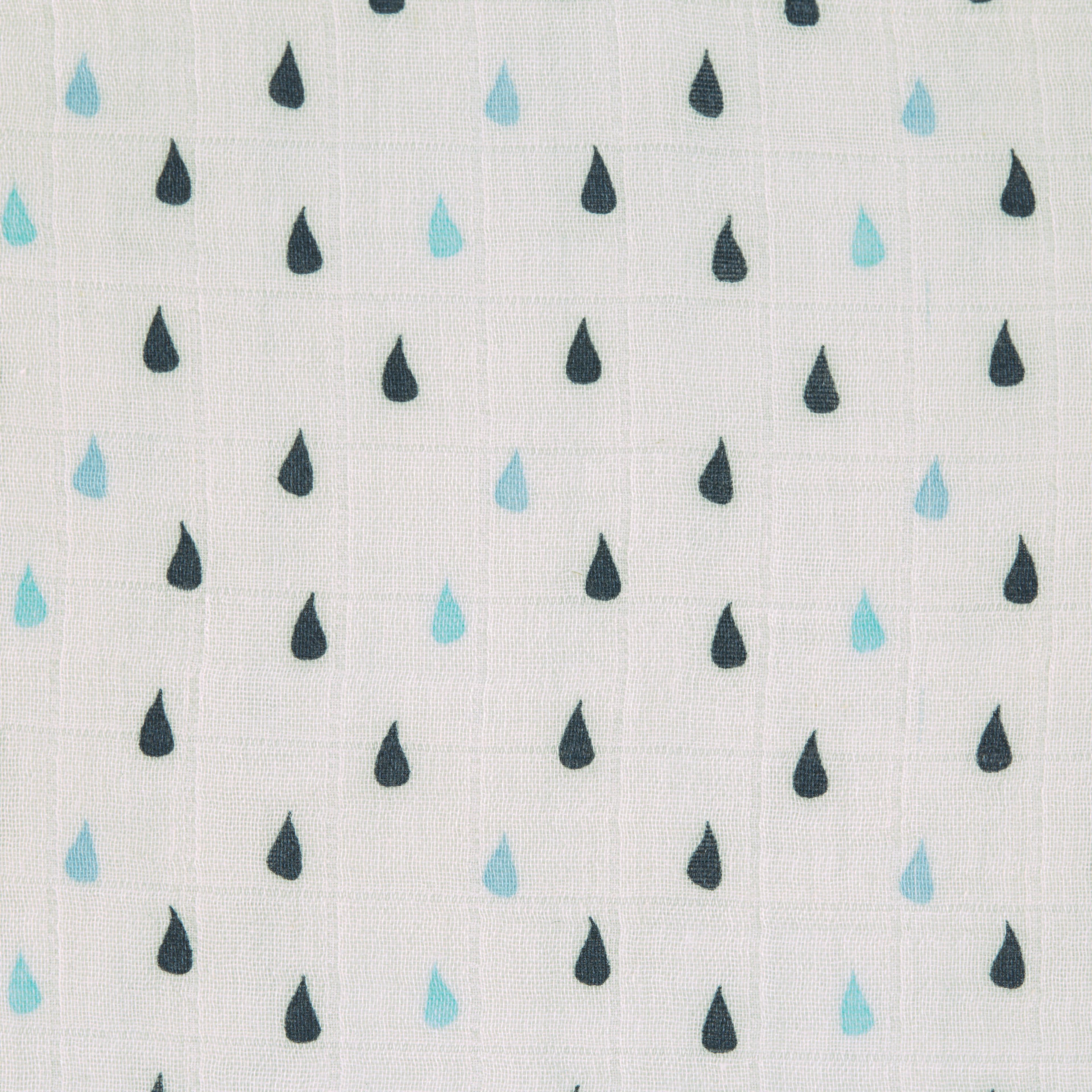 Blaue Regentropfen als Detail von Mulltuch.
