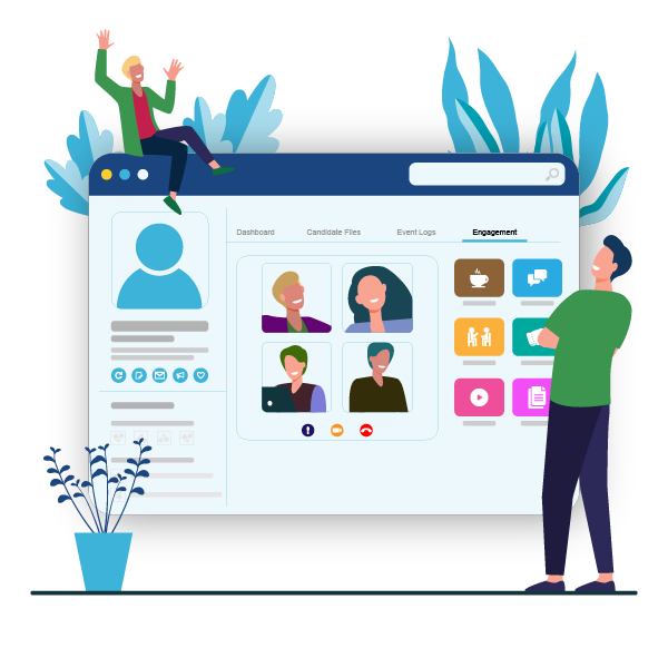 a visual representation of the employee engagement portal in StaySigned to showcase various activities like group meetings, virtual resources for candidates and other innovative solutions to better candidate's hiring journey