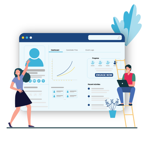 a visual representation of StaySigned platform for candidate engagement, employee experience and to ease the hiring journey of recruiters and candidates alike.