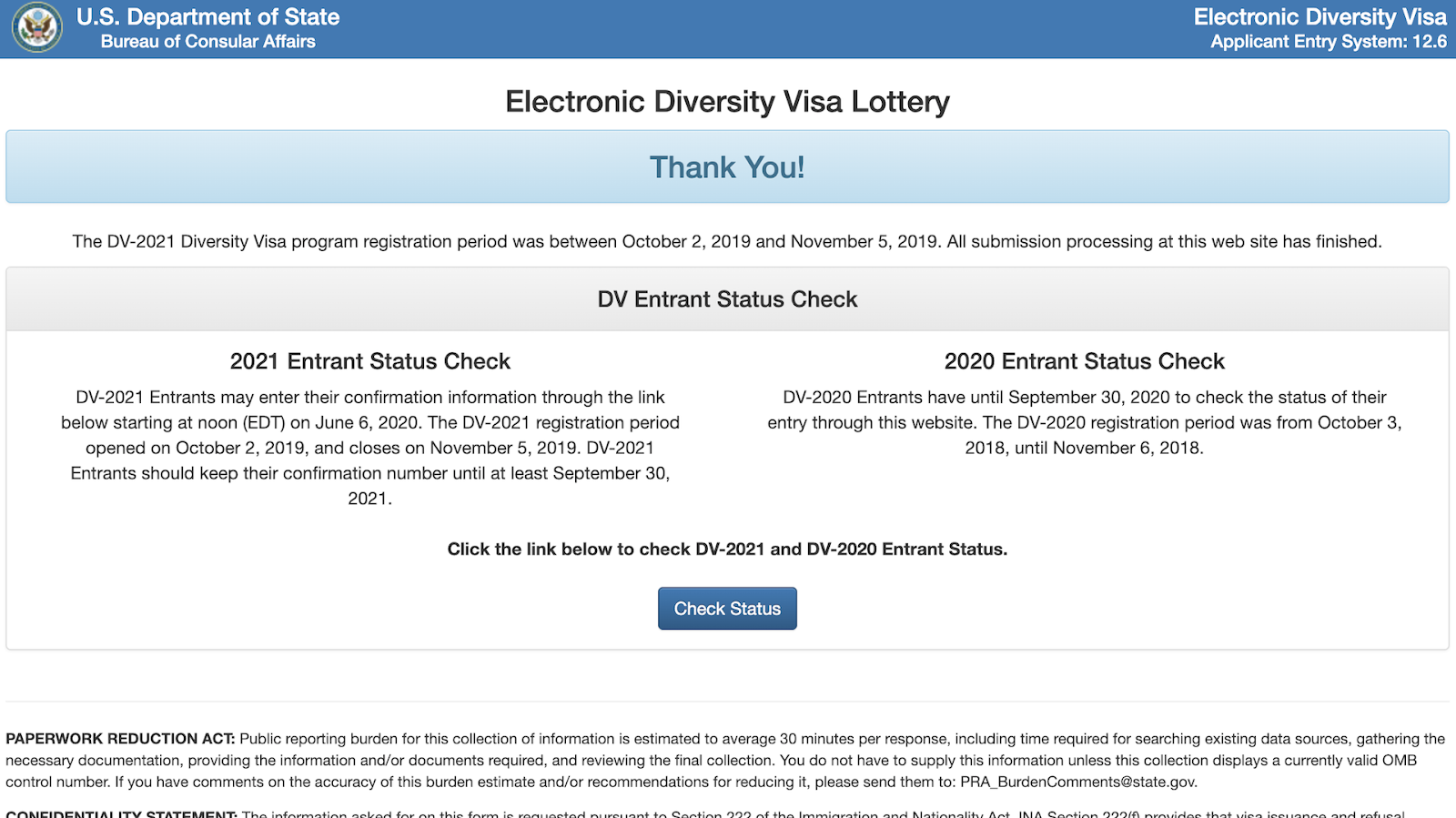Screenshot from an official website to apply for a lottery green card