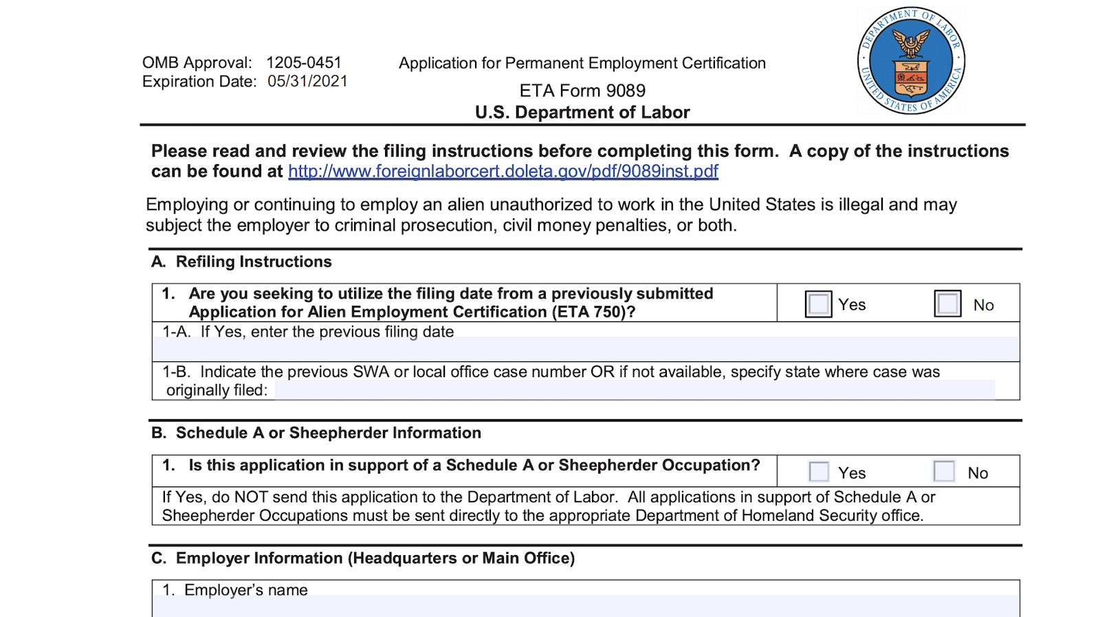 Screenshot of the form 9089 as a proof of employees job title, duties and wages