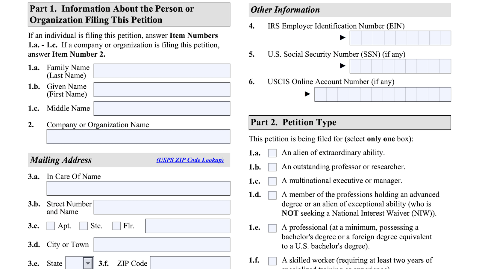 Screenshot from the form i-140 about the general information