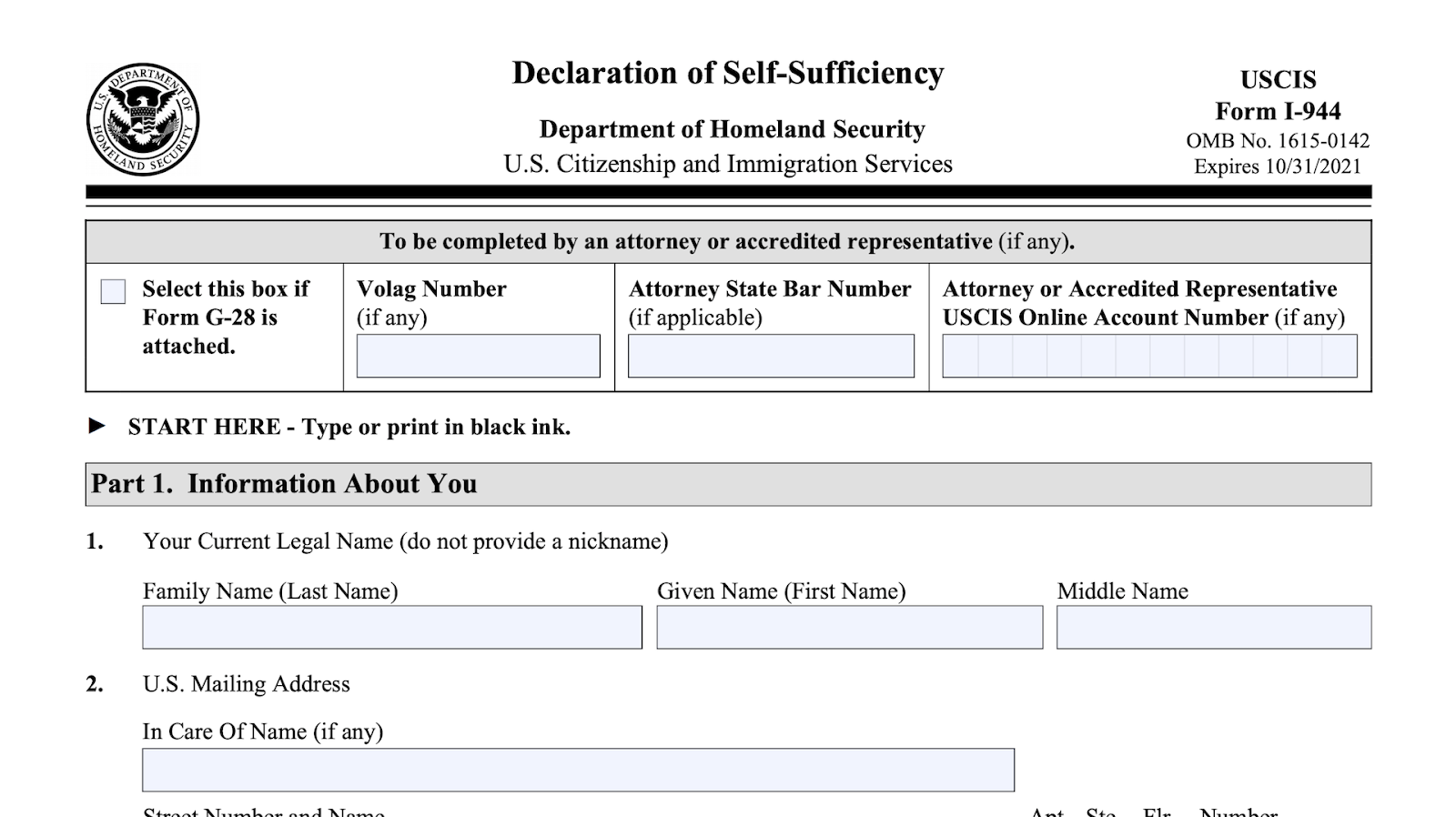 Screenshot of the form i-944 declaration of self-sufficiency first page