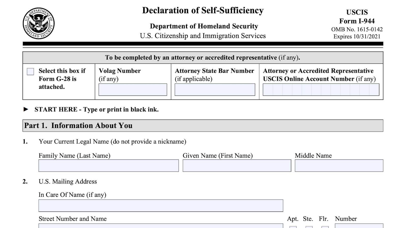i-944 declaration of self-sufficiency form screenshot