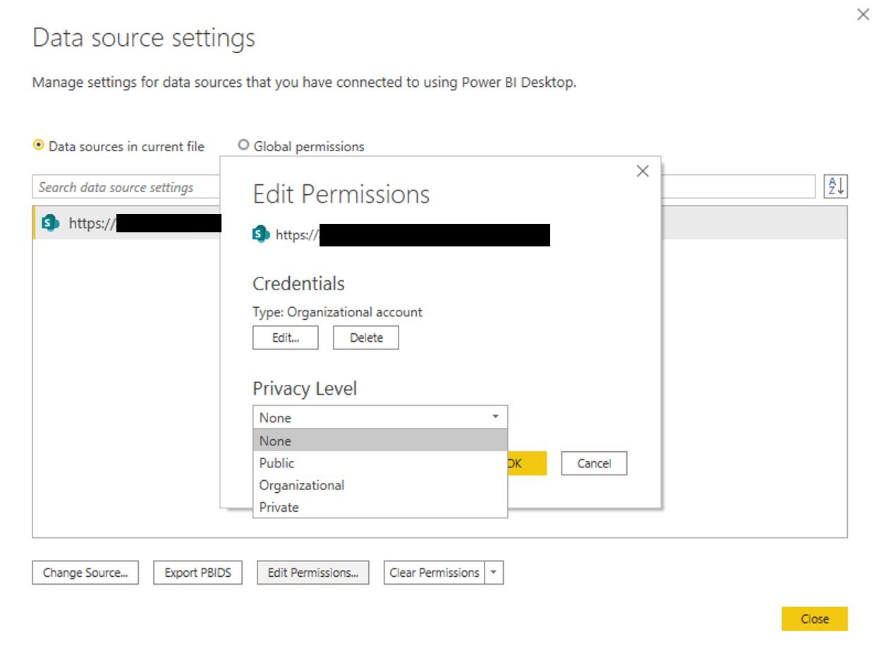 date source permission settings in power bi