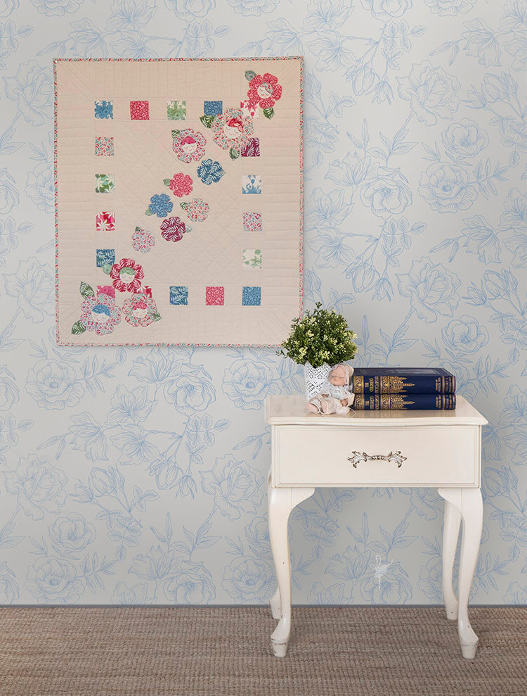 Pretty Handmades Blog Tour - Flower Friends Quilt on wall